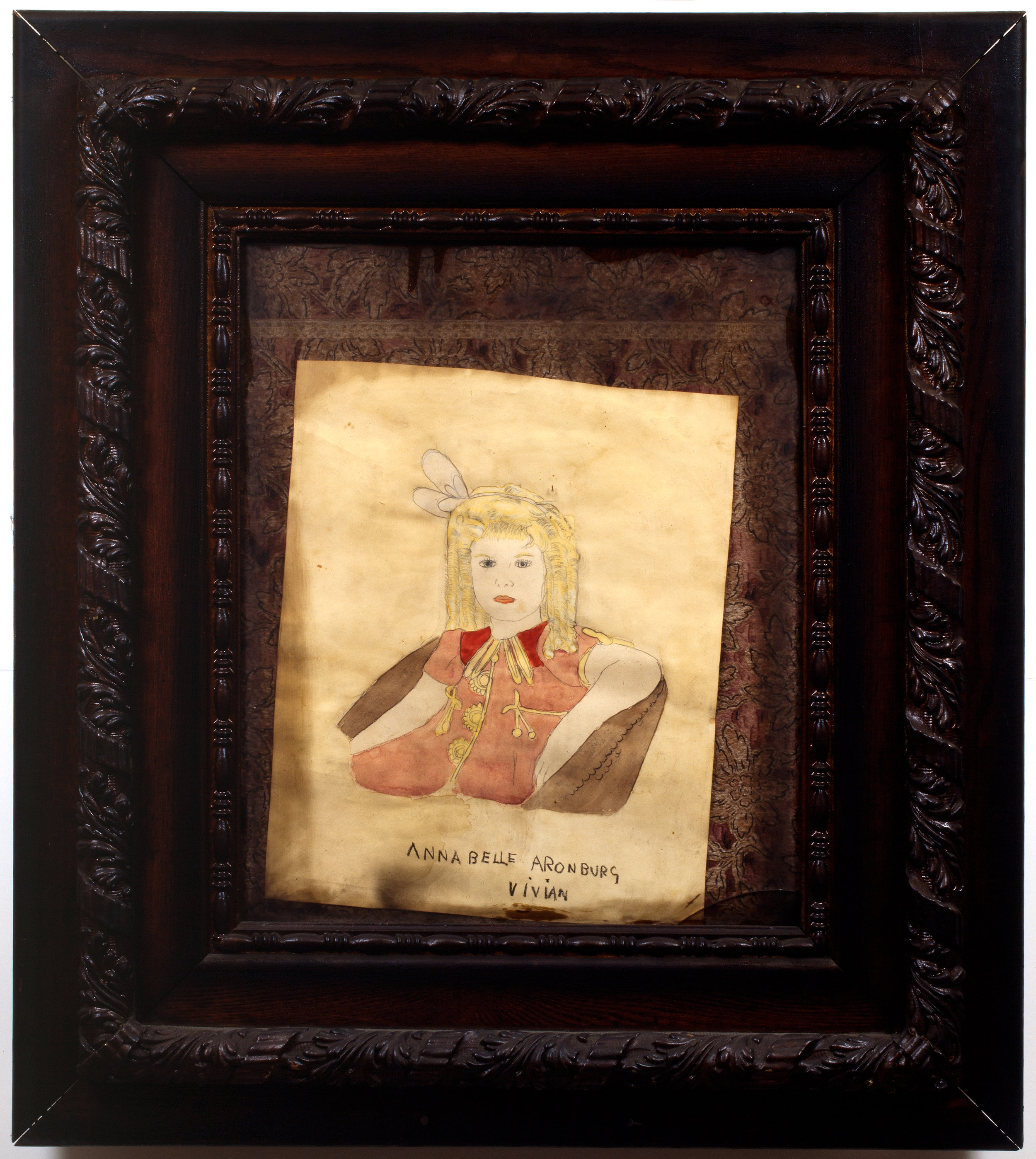 Henry Darger (American, 1892-1973). Annabelle Aronberg Vivian, ca. 1940s. Mixed media on paper, 35 ½ x 31 ½ in. (framed). Photo by John Faier. Collection of Robert A. Roth