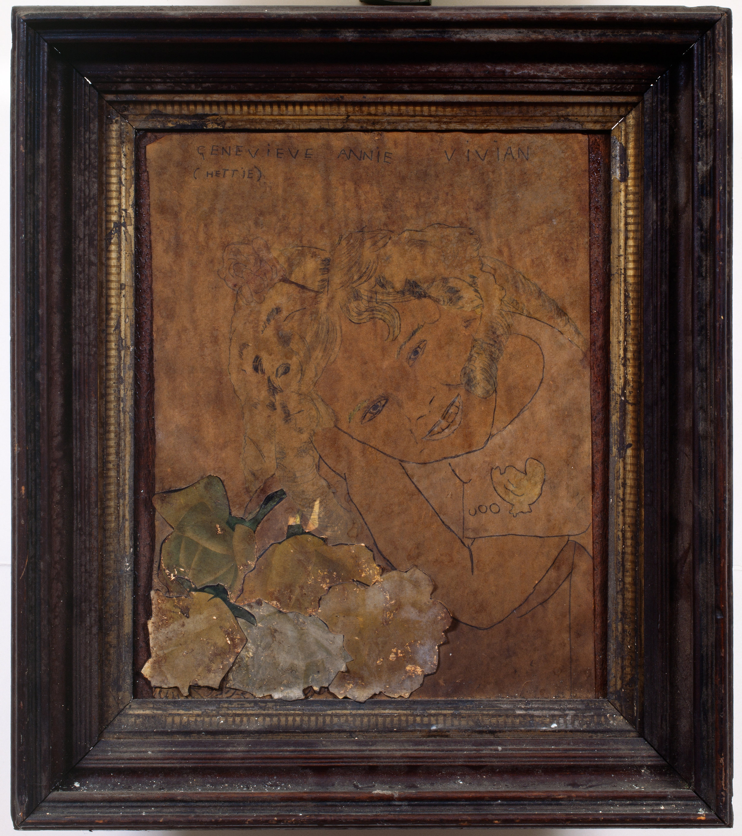 Henry Darger (American, 1892-1973). Genevieve Annie Vivian (Hettie), ca. 1940s. Mixed media on paper, 16 x 14 in. (framed). Photo by John Faier. Collection of Robert A. Roth