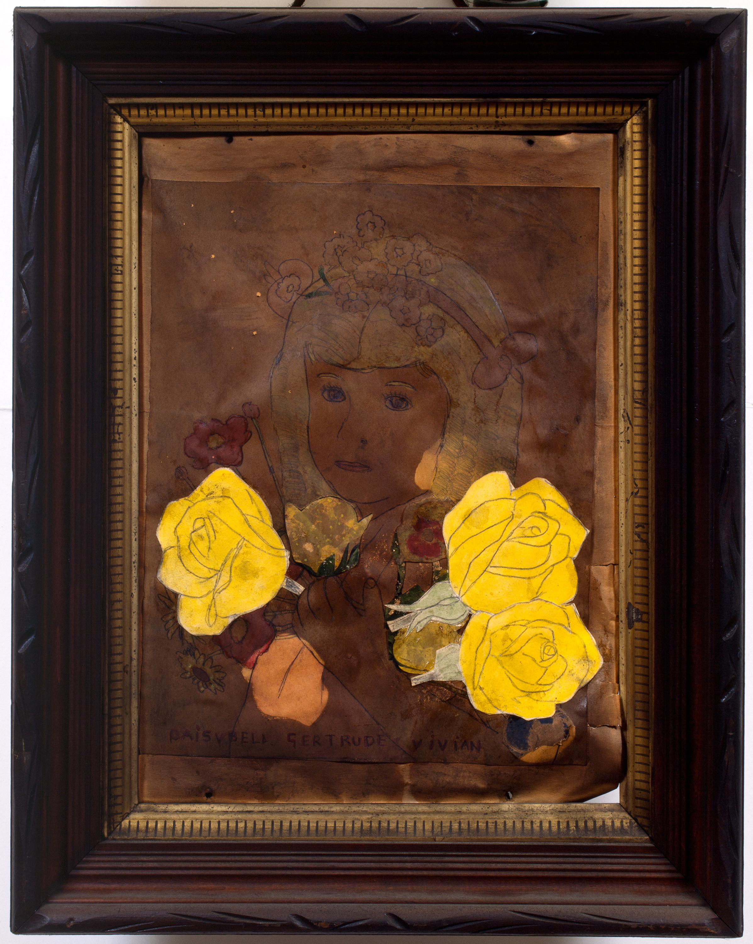 Henry Darger (American, 1892-1973). Joyce Vivian, ca. 1940s. Mixed media on paper, 18 ½ x 14 ½ in. (framed). Photo by John Faier.Collection of Robert A. Roth