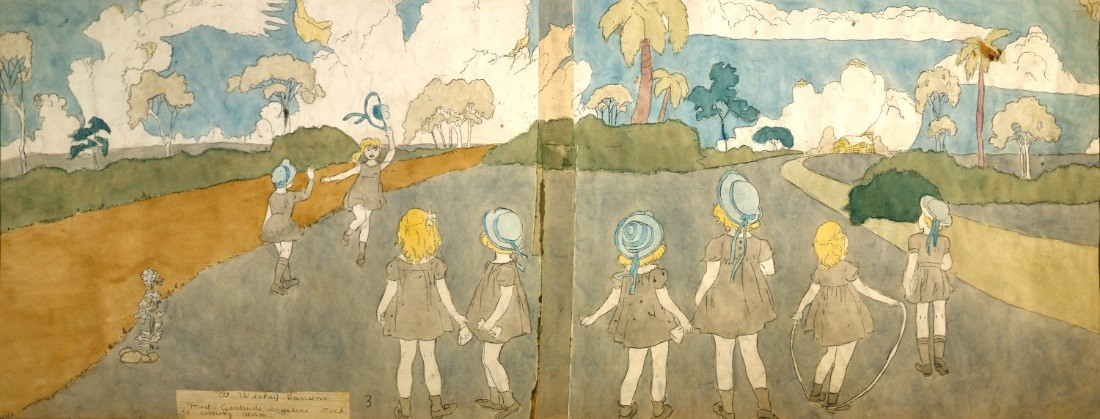 1. Henry Darger (American, 1892-1973).  At Battle Near McHollister Run / At Wickey Sansinia , mid-twentieth century. Watercolor and pencil on paper, 19 x 47 ¾ in. Collection of Robert A. Roth