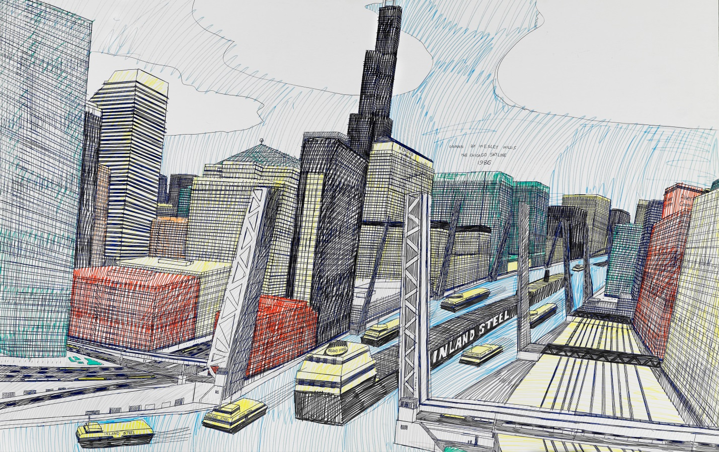 Wesley Willis (American, 1963-2003).  The Chicago Skyline, Sears Tower, Chicago River…  (detail), 1986. Ballpoint pen and felt tip pen on board, 28 x 42 in. Collection of Rolf and Maral Achilles