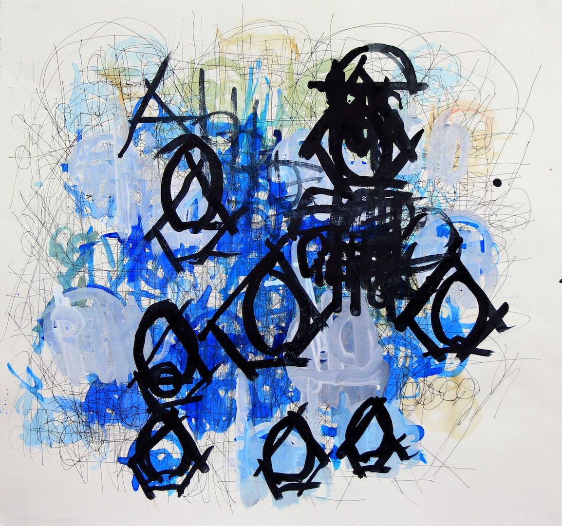 Dan Miller.  Untitled , 2012. Ink and acrylic on paper; 21 x 22.25 inches. Courtesy of the artist and Creative Growth Art Center, Oakland. © Creative Growth Art Center.