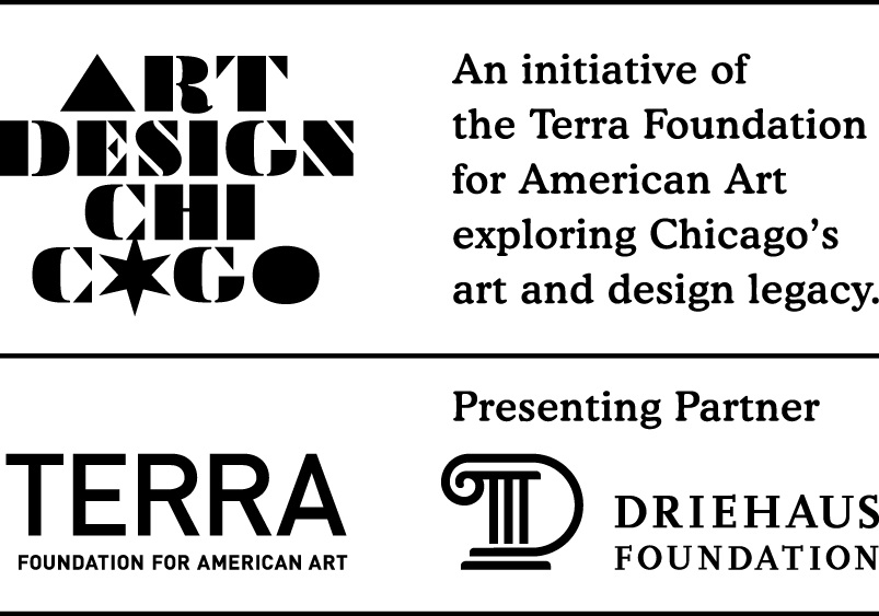 Art Design Chicago, Terra Foundation, and Driehaus Foundation logos