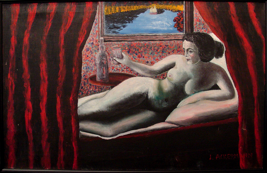 J. Ackerman (Nationality/Dates unknown ) .  Reclining Nude , ca. late 1940s-1950. Oil on canvas, 27 1⁄4 x 41 in. Collection of Intuit: The Center for Intuitive and Outsider Art, gift of Ricco/Maresca Gallery, 2007.10.11