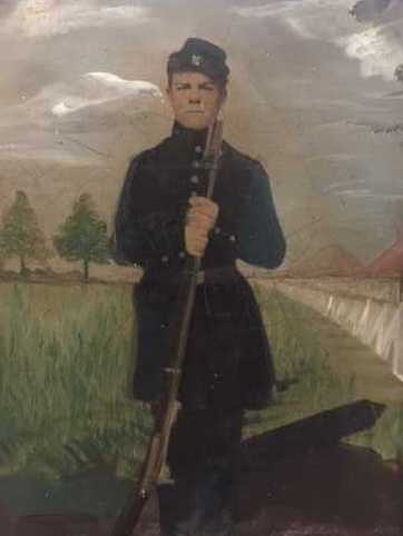 Anonymous.Untitled [Unknown Civil War soldier with painted landscape], c. 1865. Painted tintype. Private collection
