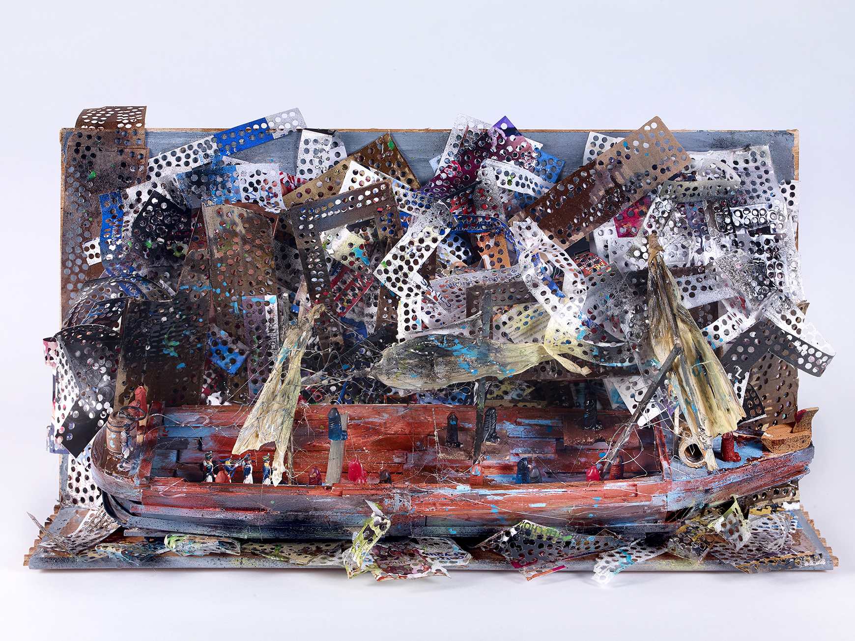 Marvin Tate (American, b. 1959).  Lake Front Apparition , 2019. Found objects, 16 ½ x 30 ¼ x 14 in. Courtesy of the artist. Photo © John Faier