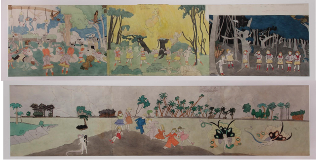 Henry Darger (American, 1892-1973). Untitled, n.d. Carbon transfer, watercolor and pencil on pierced paper, 18 x 70 in. (45.72 x 177.8 cm). Collection of Robert A. Roth