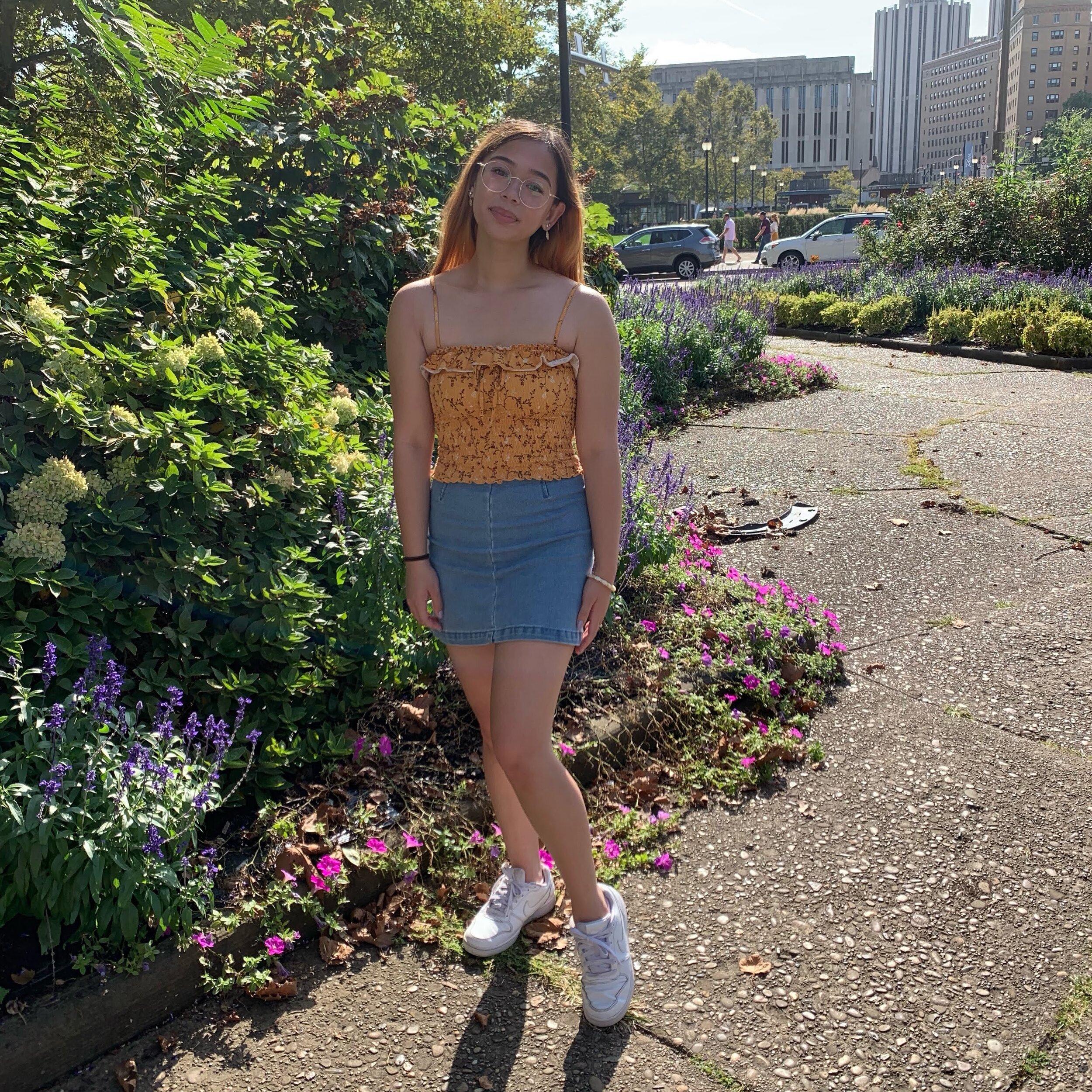 "Sabine Jante    Pronouns:  She/Her/Hers   Academic Year:  Freshman   Major:  Nursing   Hometown:  Phoenixville, PA   Cultural Identity:  Filipino American  ""art, dance, martial arts, kpop, rock music, reading"""