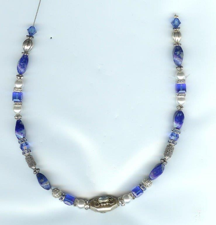 Iolite, Lapis & Pearl Necklace