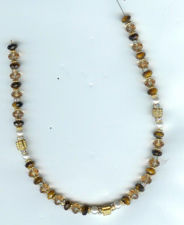 Tiger Eye & Topaz Rondelles & Gold Necklace