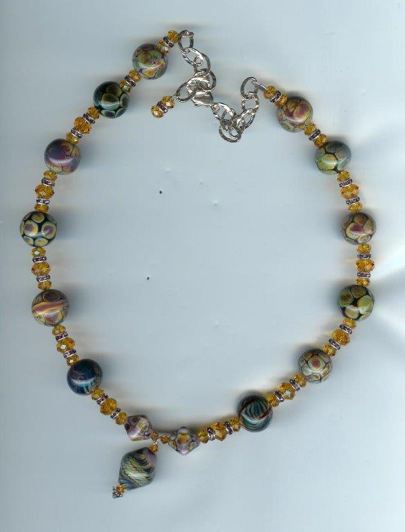 Large Fancy Boro Lampwork with Topaz Necklace
