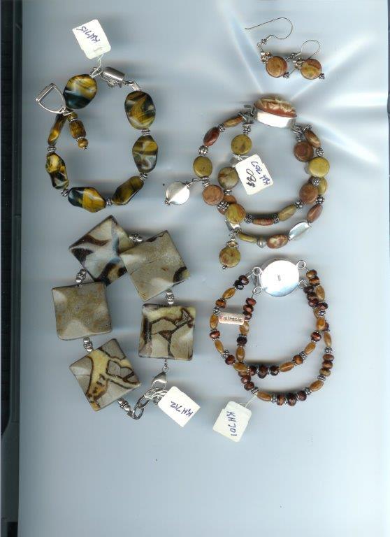 Asst Bracelets: Septaria, Tiger Eye, Jasper