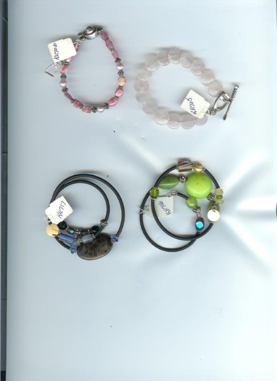 Asst Bracelets:  Rose Quartz, Rhodocrosite, Lampwork Glass