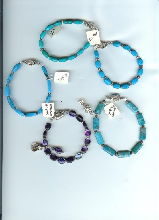 Asst Bracelets:  Agate, Abalone, Turquoise, Sterling Horse in a Trailer clasp