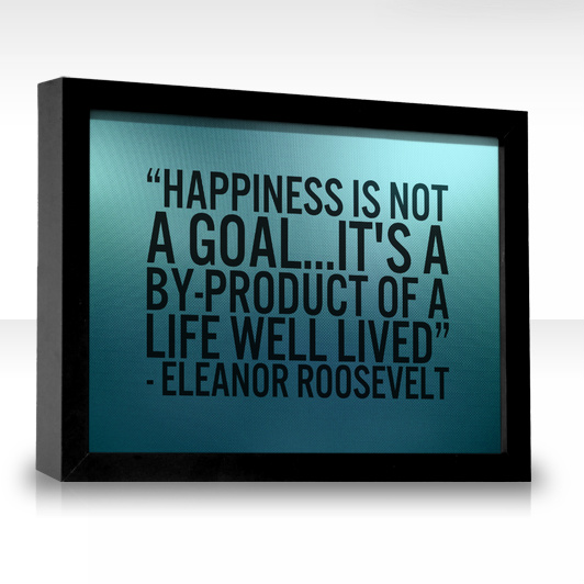happiness is not a goal , its a by product of a well lived life