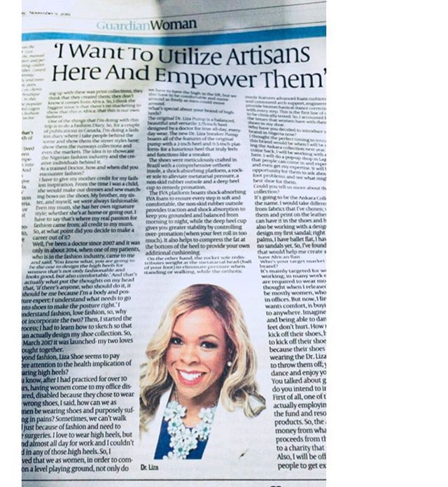 When I was in Lagos last month I had the pleasure of speaking with @guardiannigeria about my plans to give back with the @drlizashoes ANKARA collection in 2020 🇳🇬❤️🙏🏾 #staytuned
