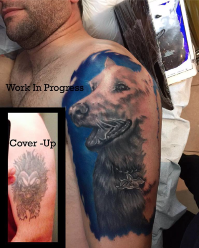Cover-up in progress by Justina Kervel