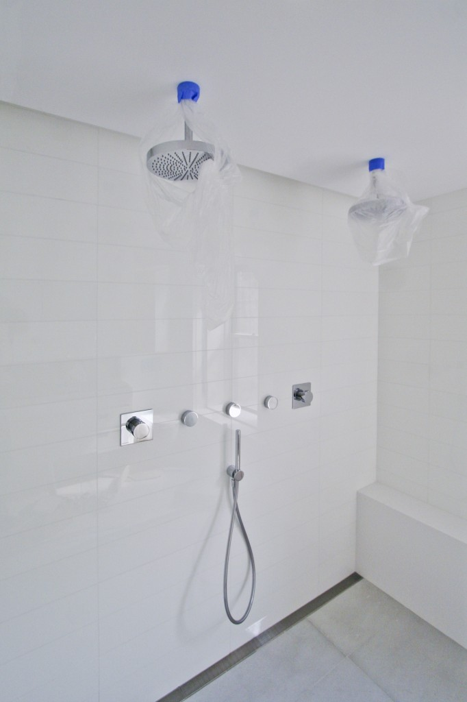 Master Bathroom   - modern shower for the master bedroom complete with 2 rainshower heads