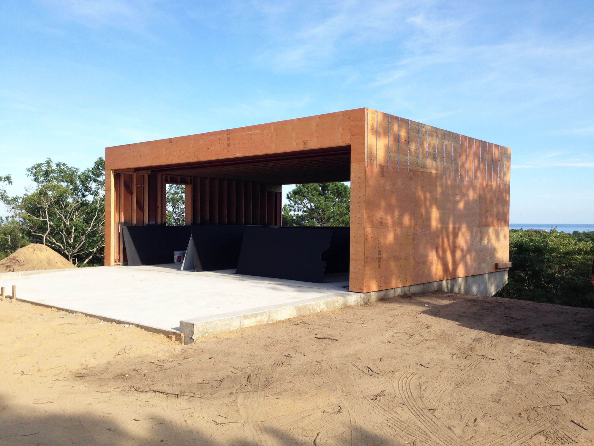 Detached Garage -   Steel framing and exterior sheathing has been completed.