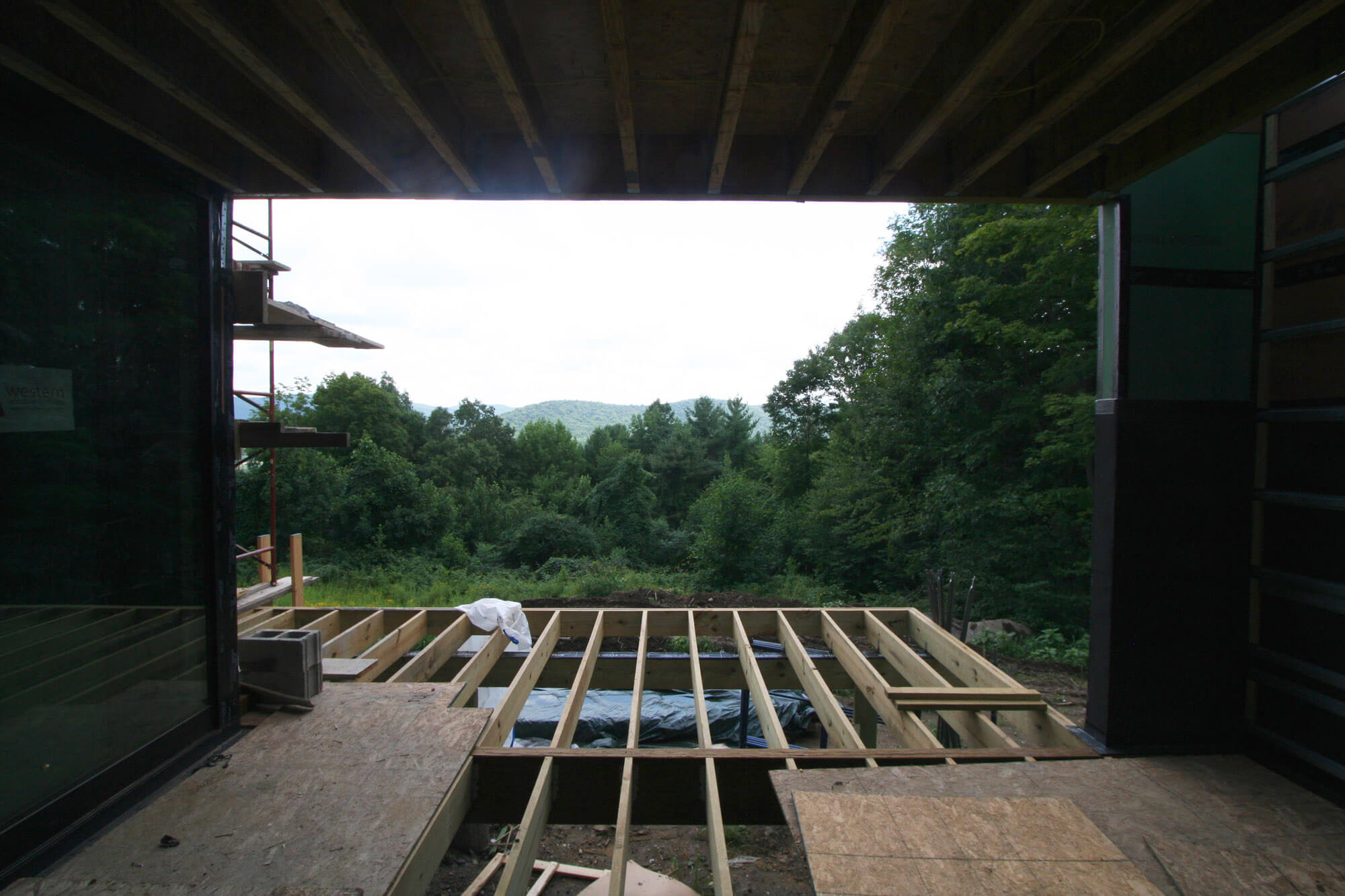 Framing the view -  construction of the  covered exterior deck