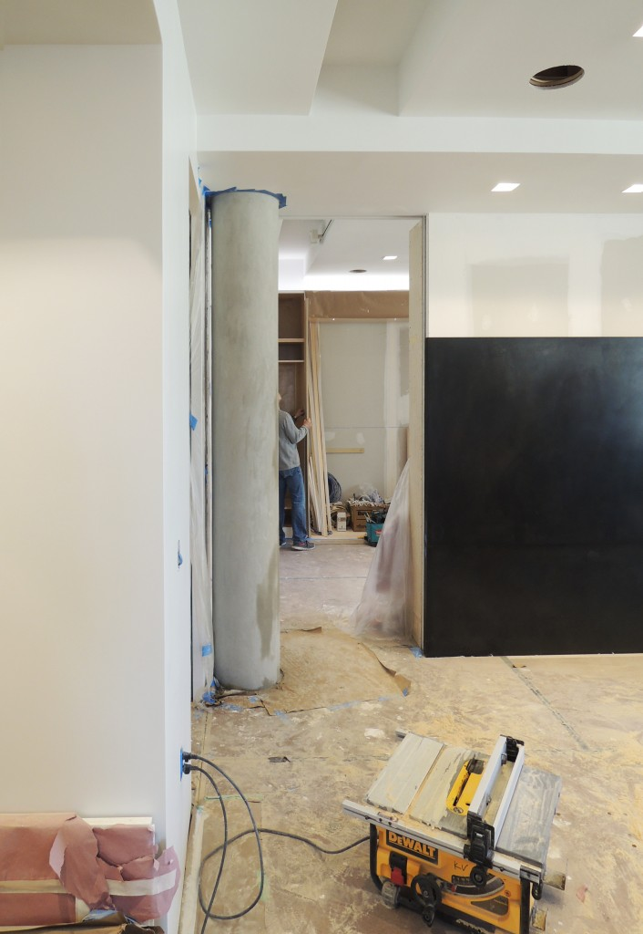 Living Room  -  Black hot rolled steel panel inserted in place