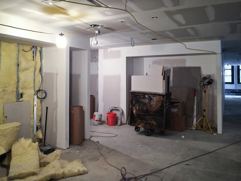 Insulation packed into walls before sheetrock is applied on top