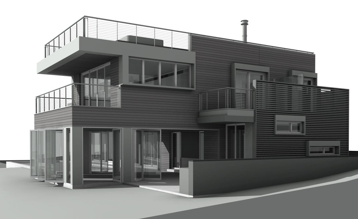 Elevation of deck access of the bedrooms and roof hot tub