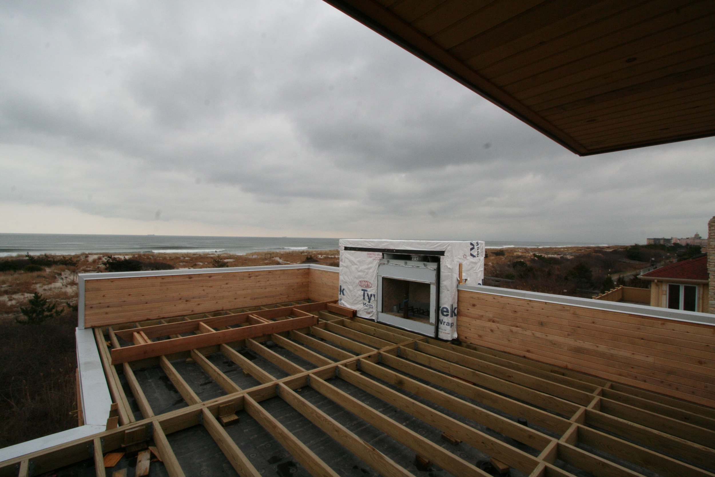 View of outdoor deck construction