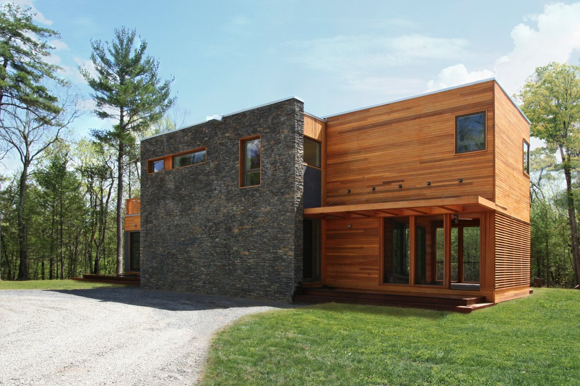Elevation of stone wall and completed facade