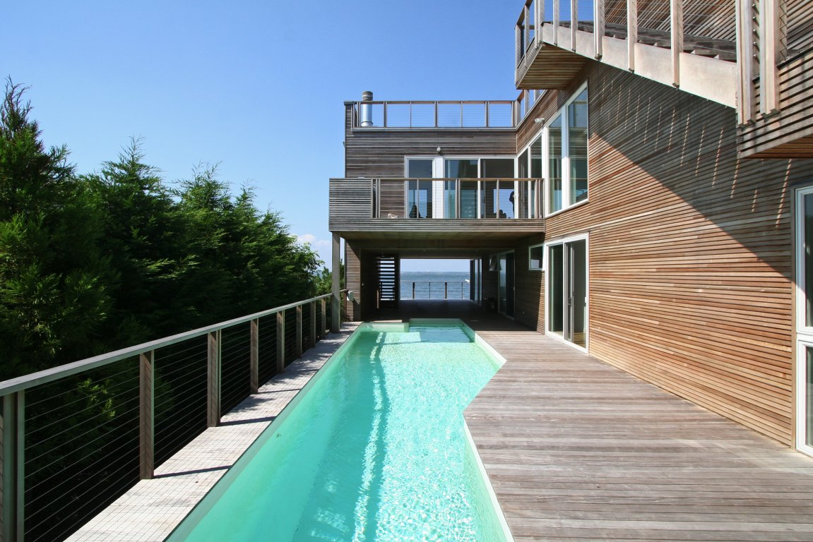 Pool area with pool deck