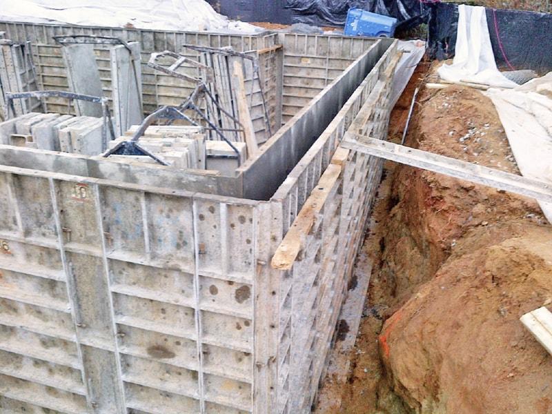 Foundation walls under construction