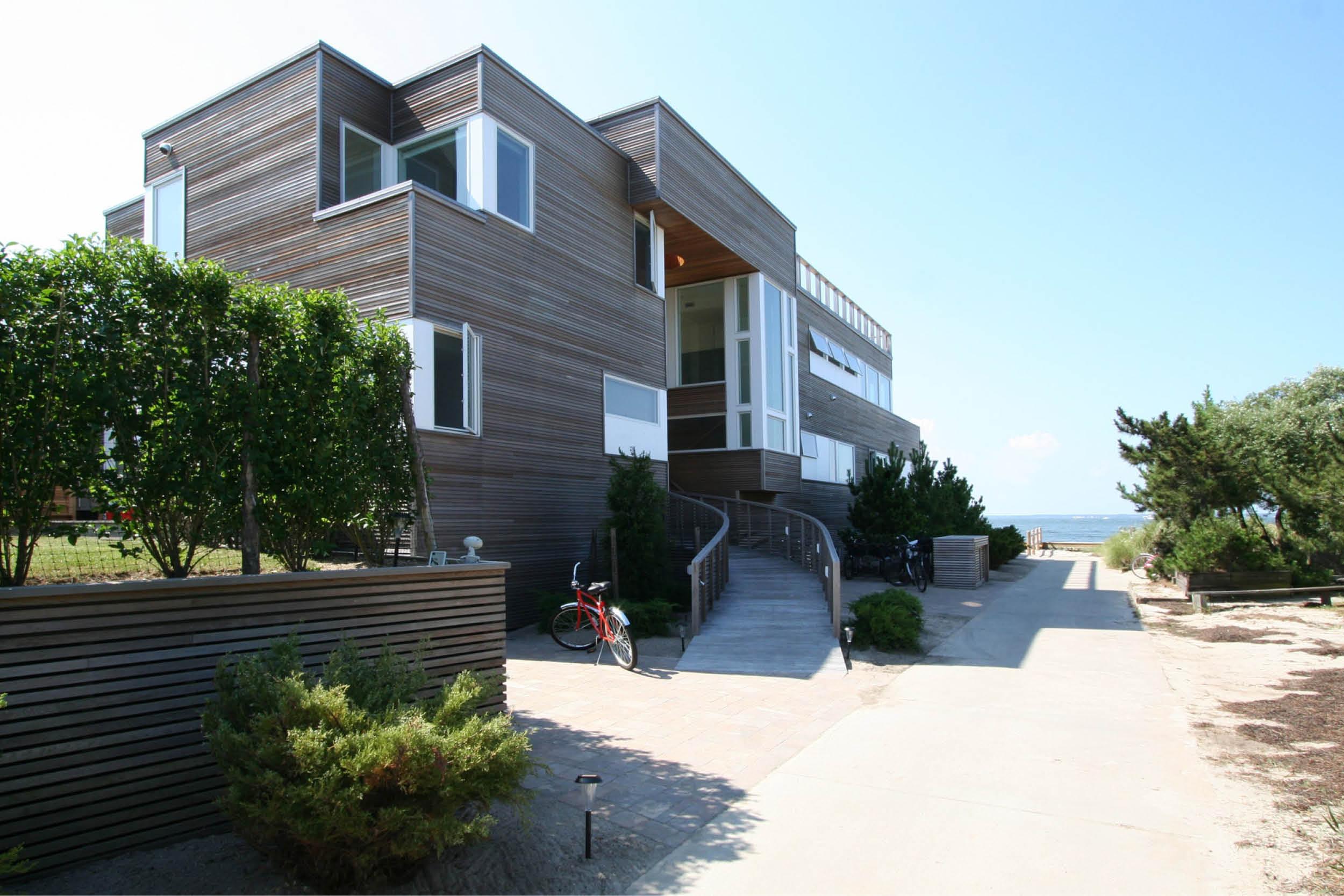 Modern Modular Prefab House | Cedar siding Beach White Windows | Fire Island New York | RES4