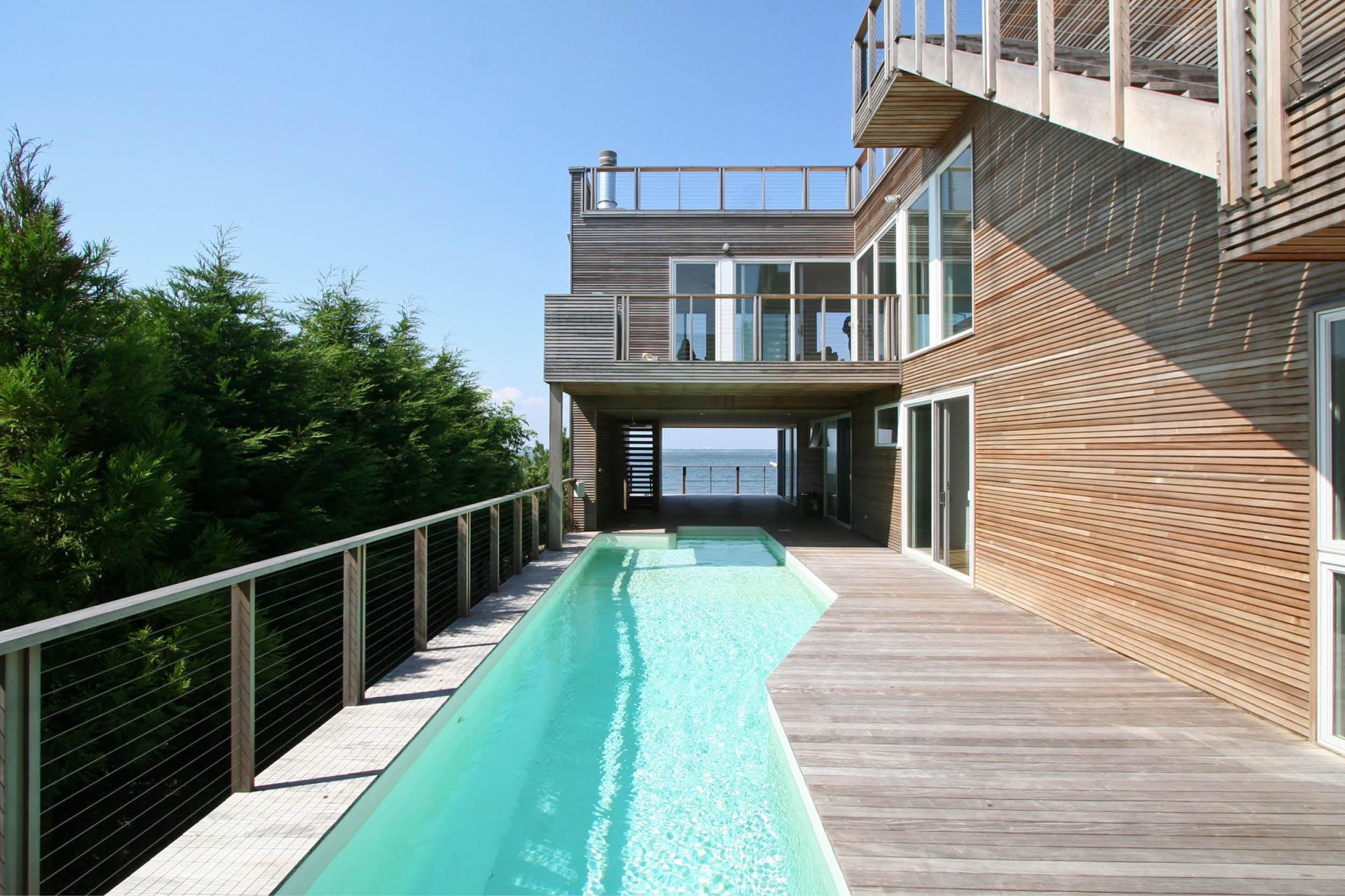 Modern Modular Prefab House | Cedar siding Beach White Windows Pool Ipe Deck | Fire Island New York | RES4