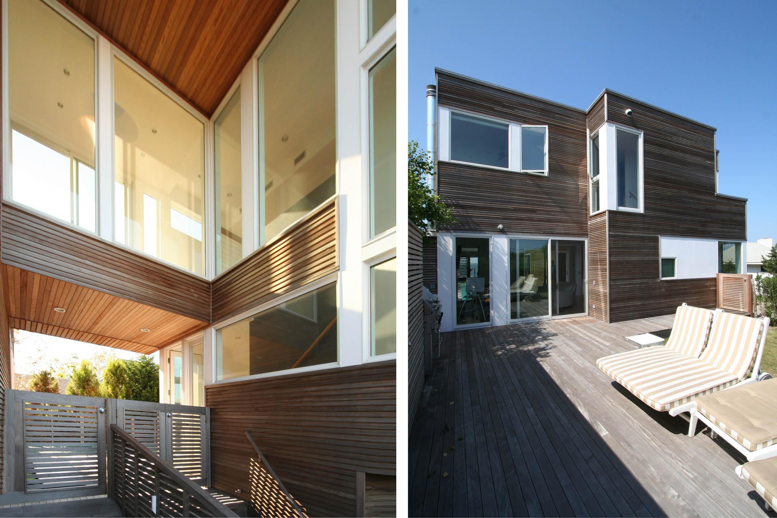 Modern Modular Prefab House | Cedar siding Beach White Windows Room Deck | Fire Island New York | RES4