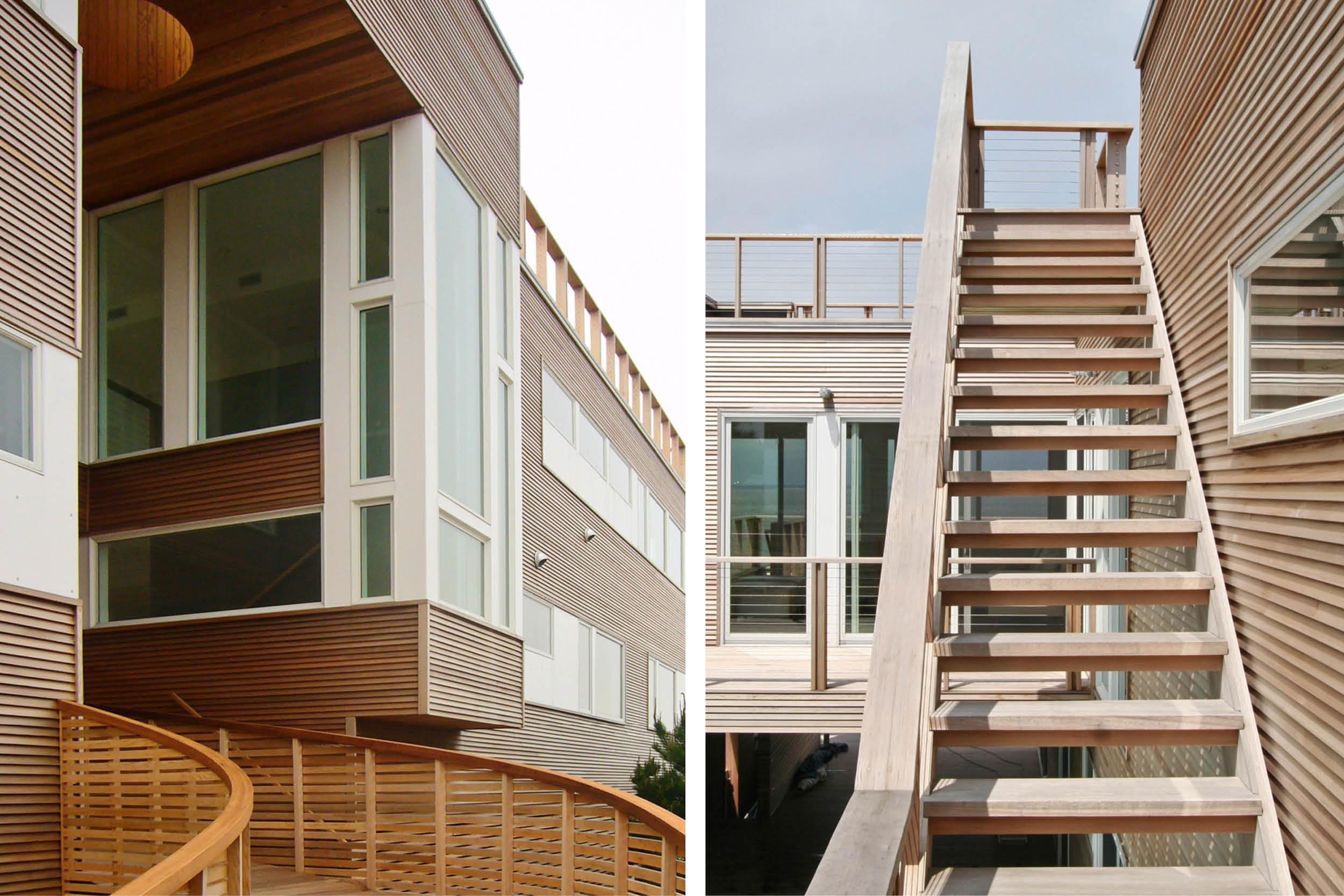 Modern Modular Prefab House | Cedar siding Beach White Windows Open Tread Stair | Fire Island New York | RES4