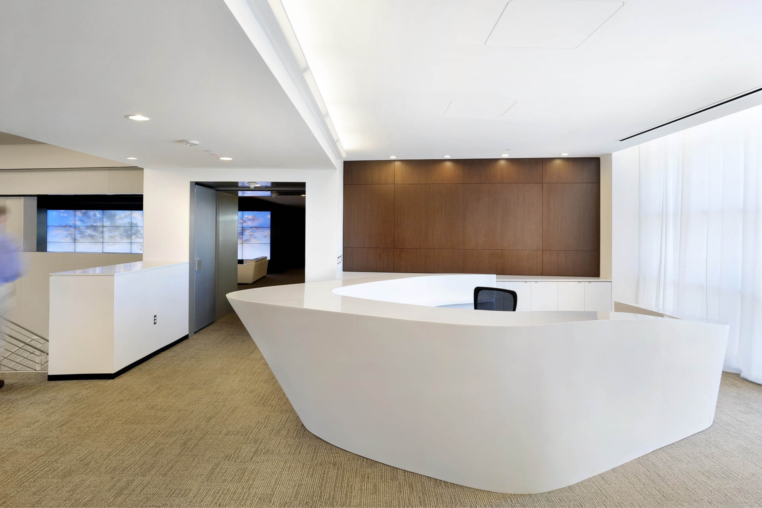 Modern Commercial Office | Custom Corian Curved White Reception Desk | RES4