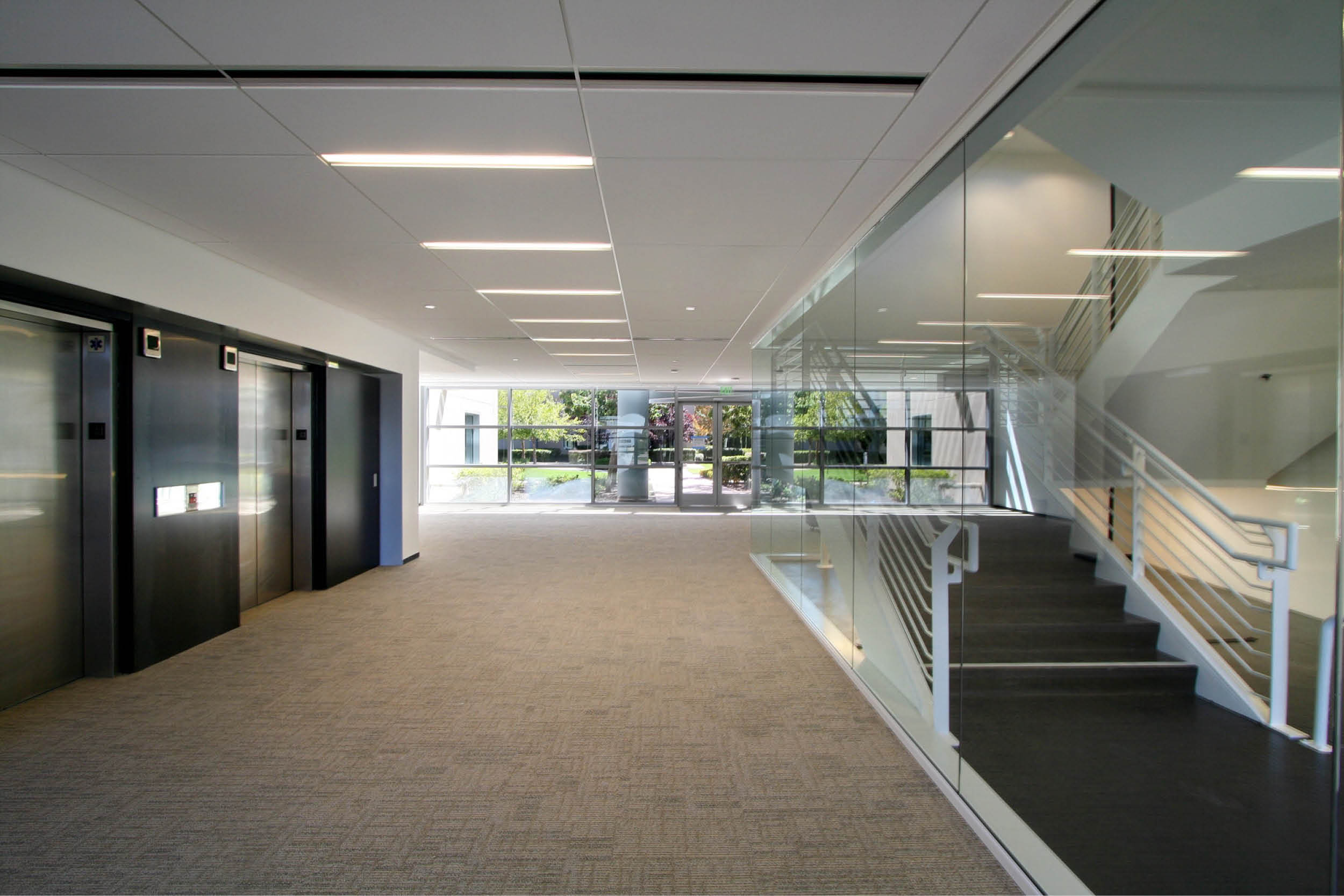 Modern Commercial Office | White Black Stair Lobby | RES4