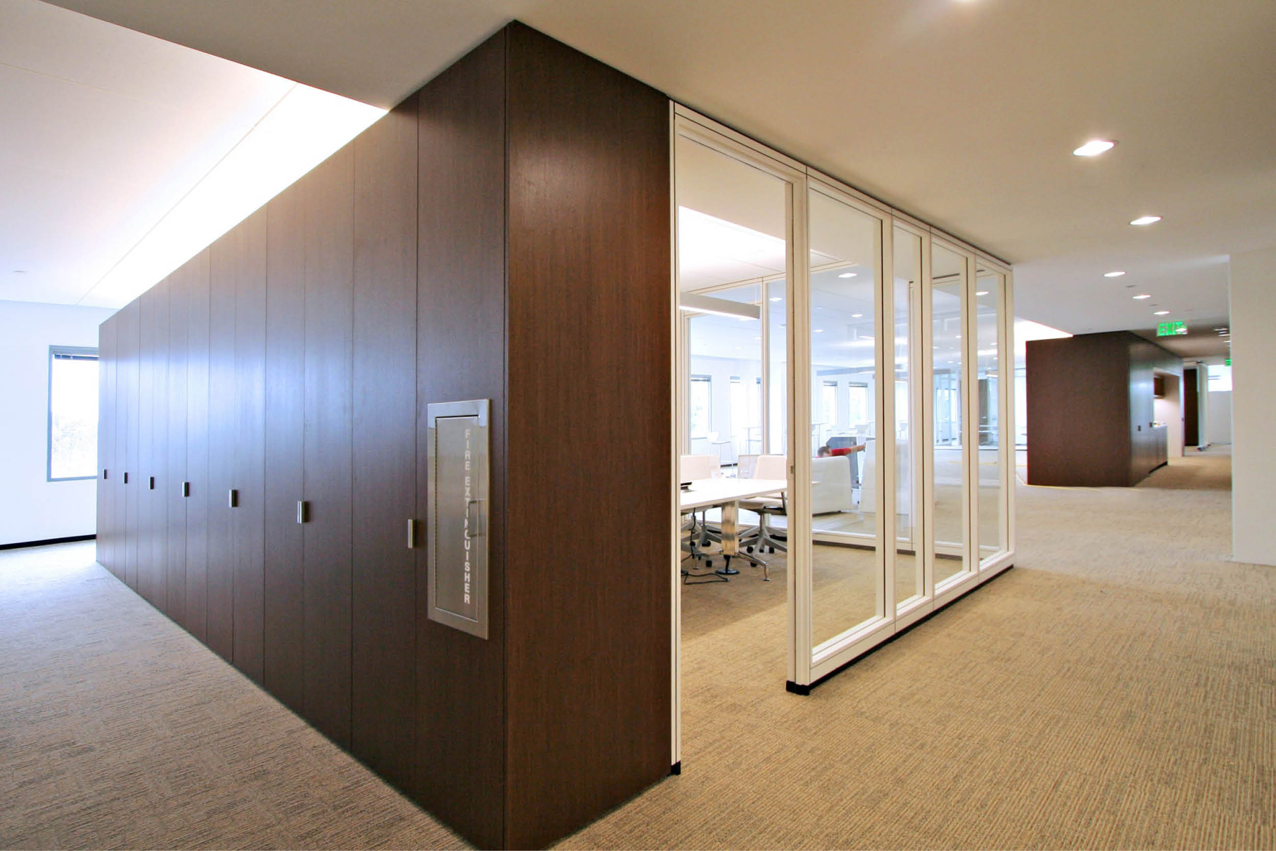 Modern Commercial Office | Custom Wood Millwork Built Ins Glass Partitions | RES4