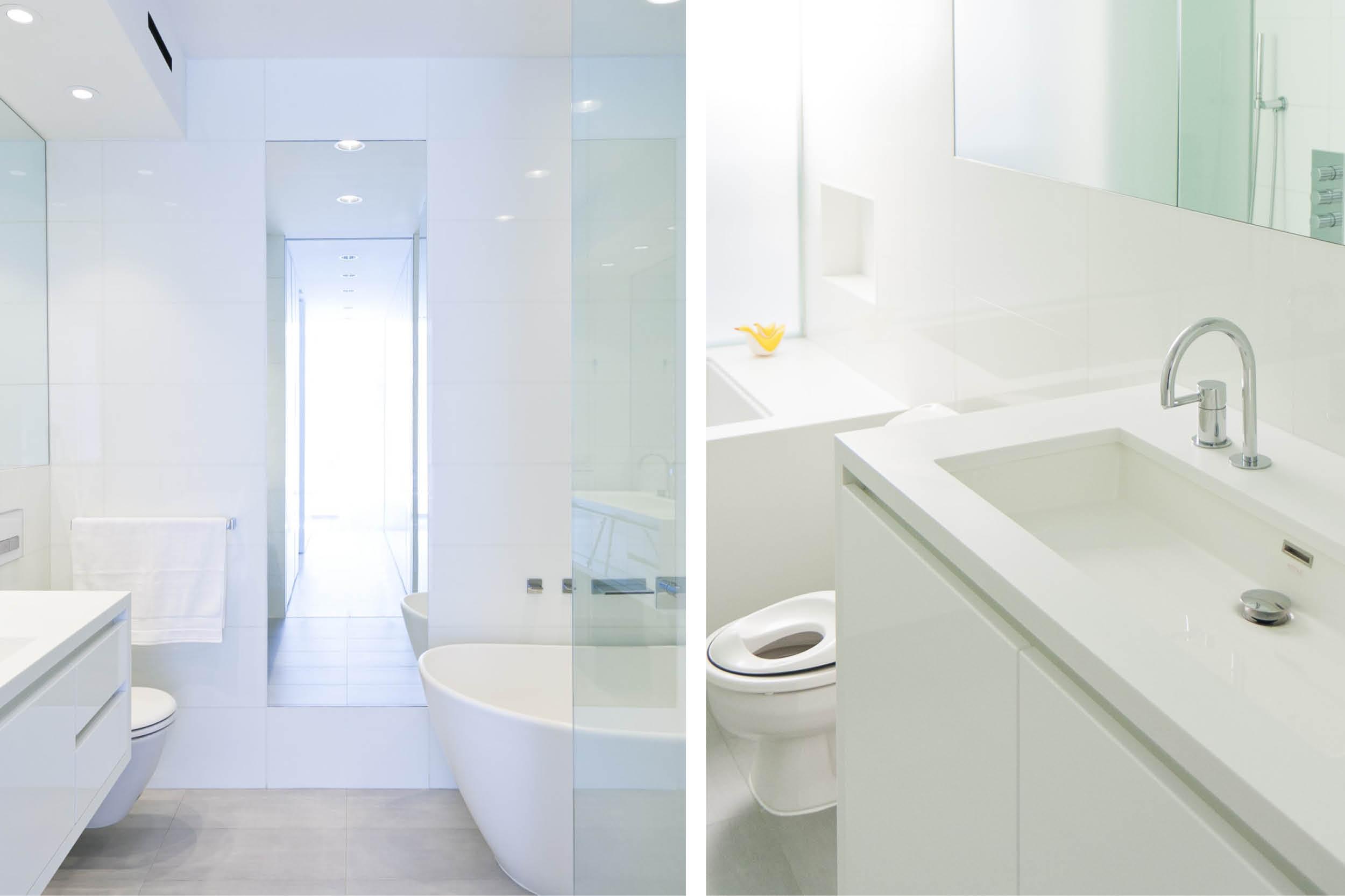 Modern New York City Union Square Loft Renovation | White Master Bath Custom Kid Toilet | RES4