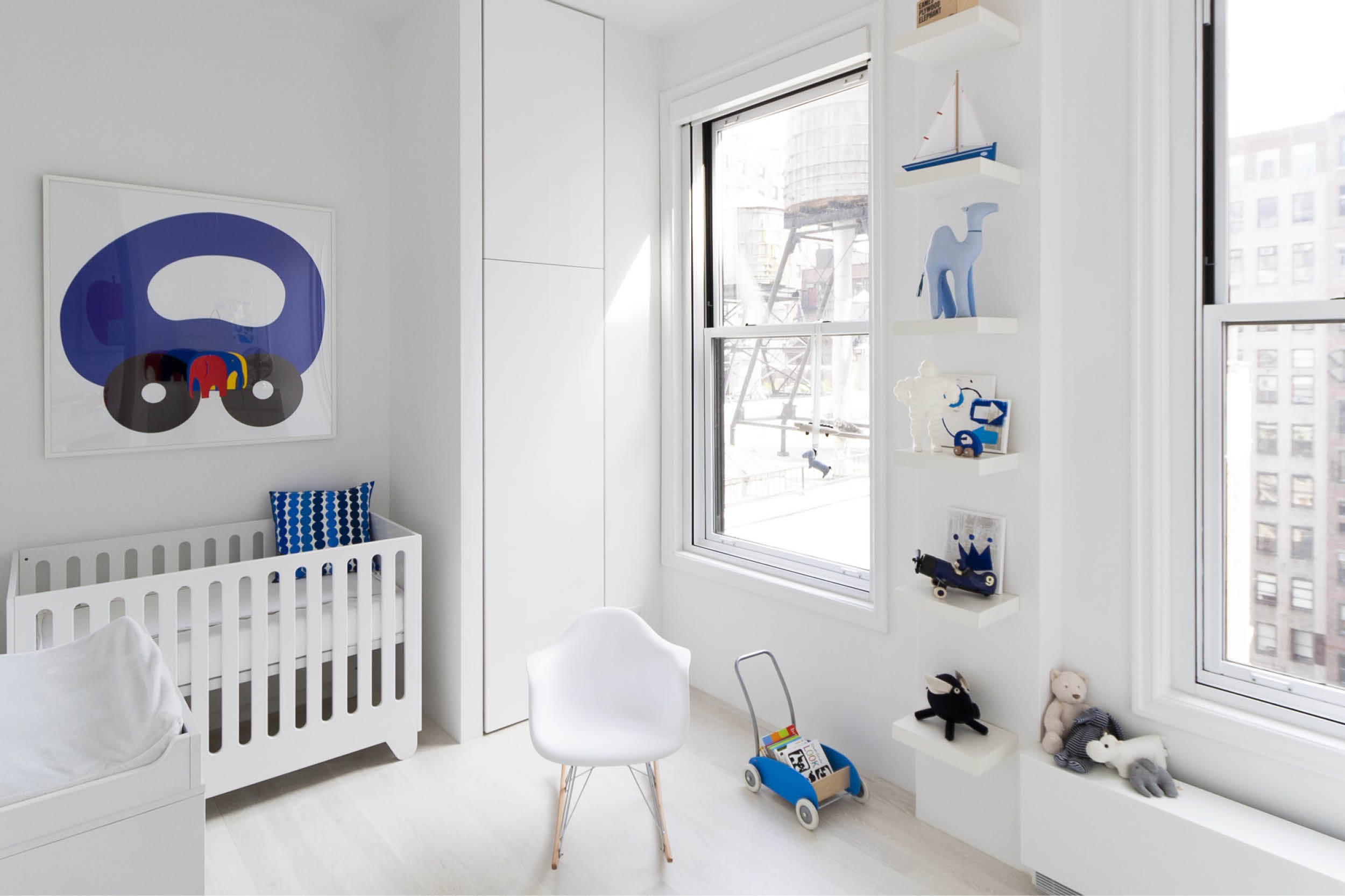 Modern New York City Union Square Loft Renovation | White Kids Bedroom Bright Art | RES4