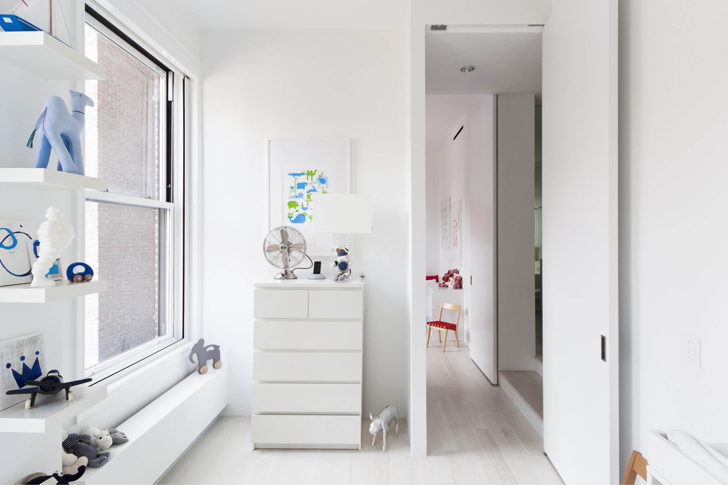 Modern New York City Union Square Loft Renovation | White Kids Bedroom Bright Art | RES4