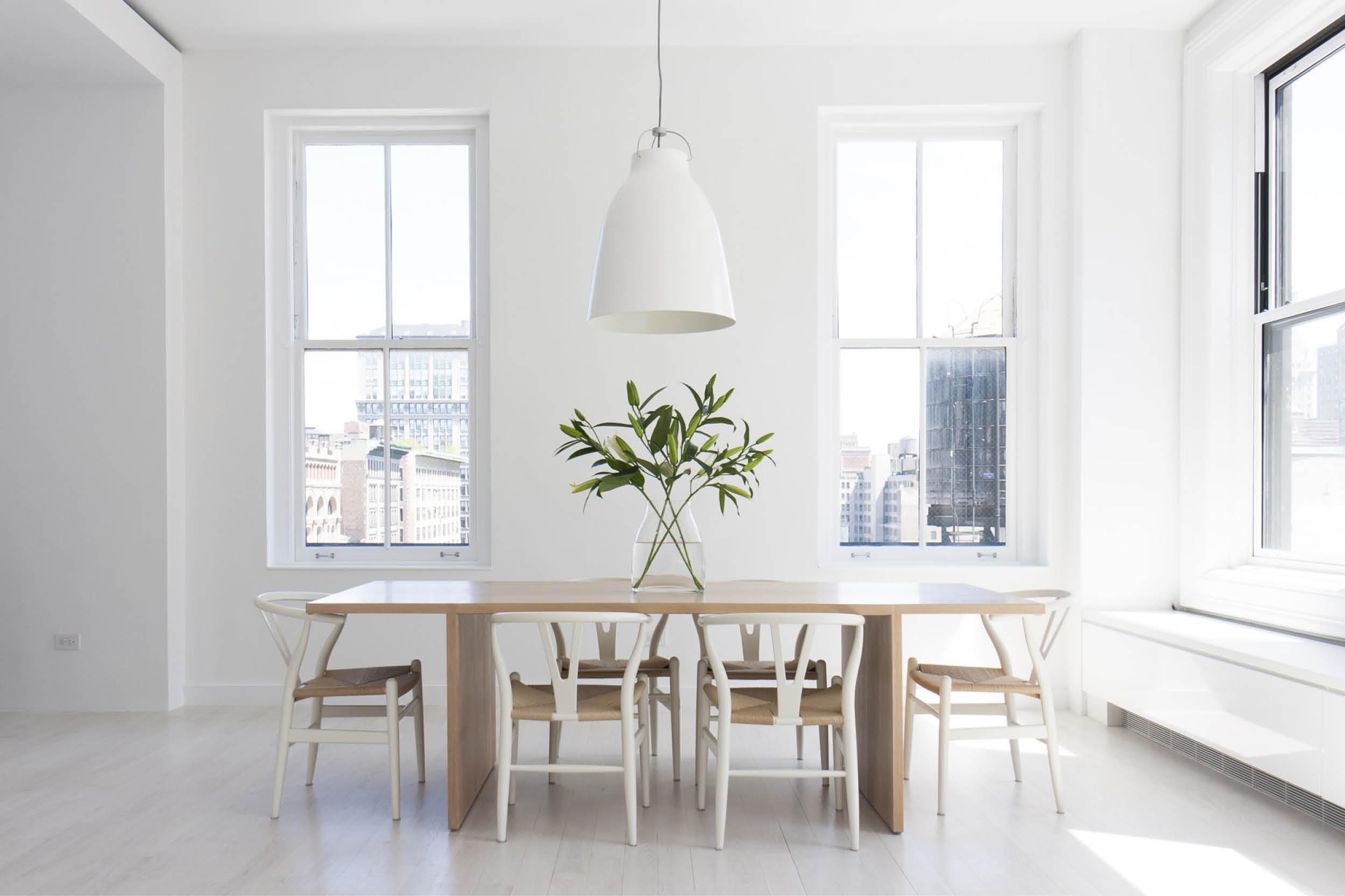 Modern New York City Union Square Loft Renovation | White Dining Room