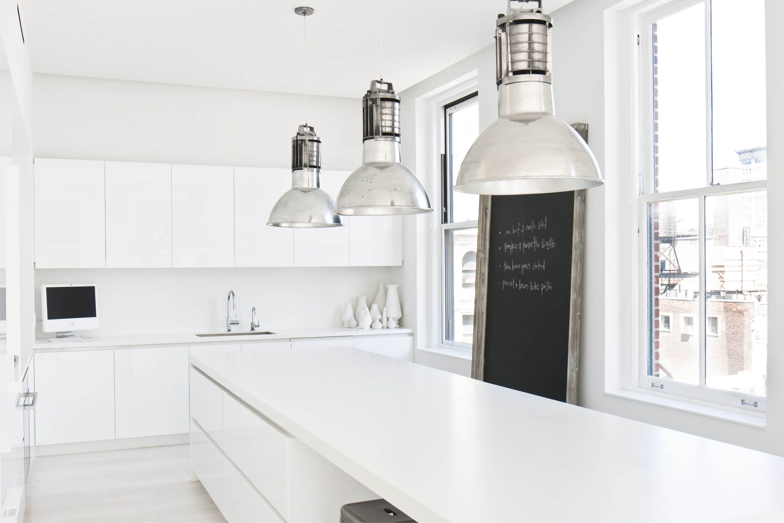Modern New York City Union Square Loft Renovation | White Kitchen Custom Cabinets | RES4