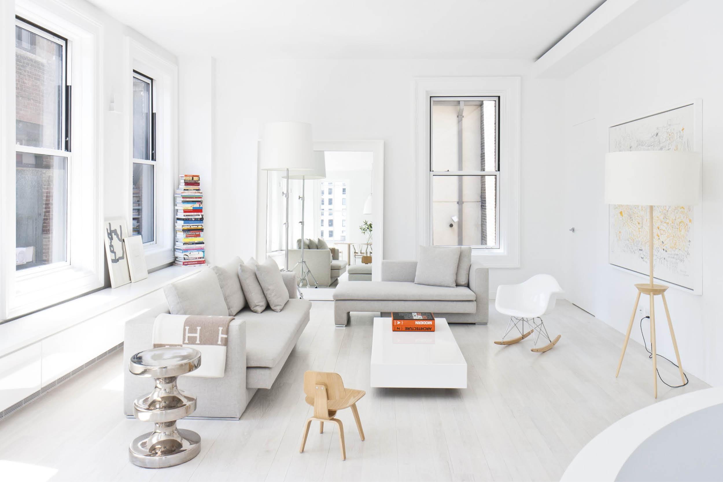 Modern New York City Union Square Loft Renovation | Built In Storage Bench White Living | RES4