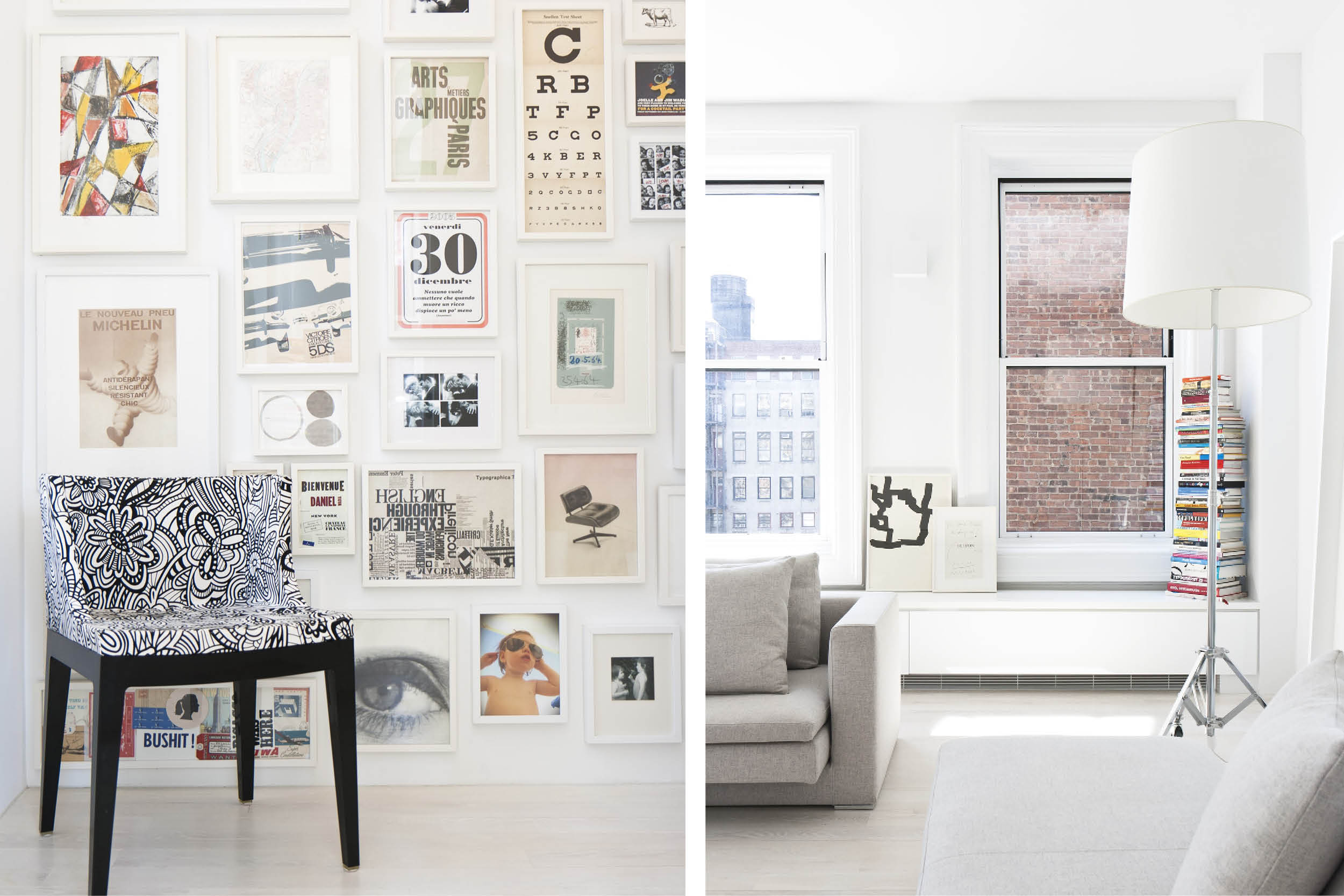 Modern New York City Union Square Loft Renovation | White Living Room Bright Art | RES4