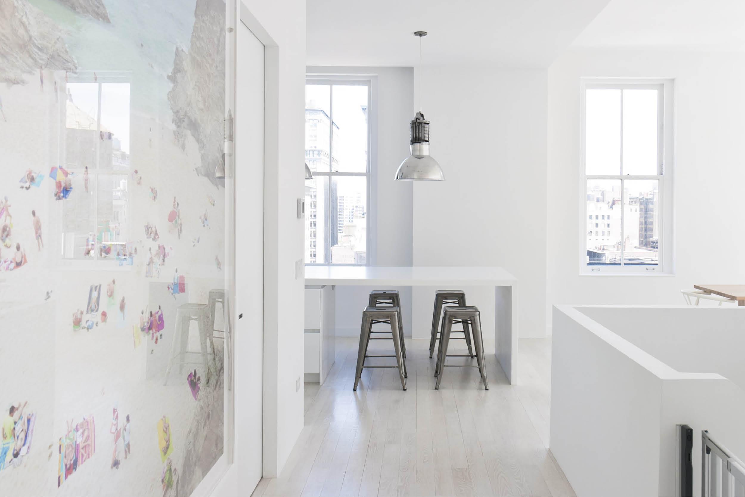 Modern New York City Union Square Loft Renovation | White Living Kitchen Island | RES4