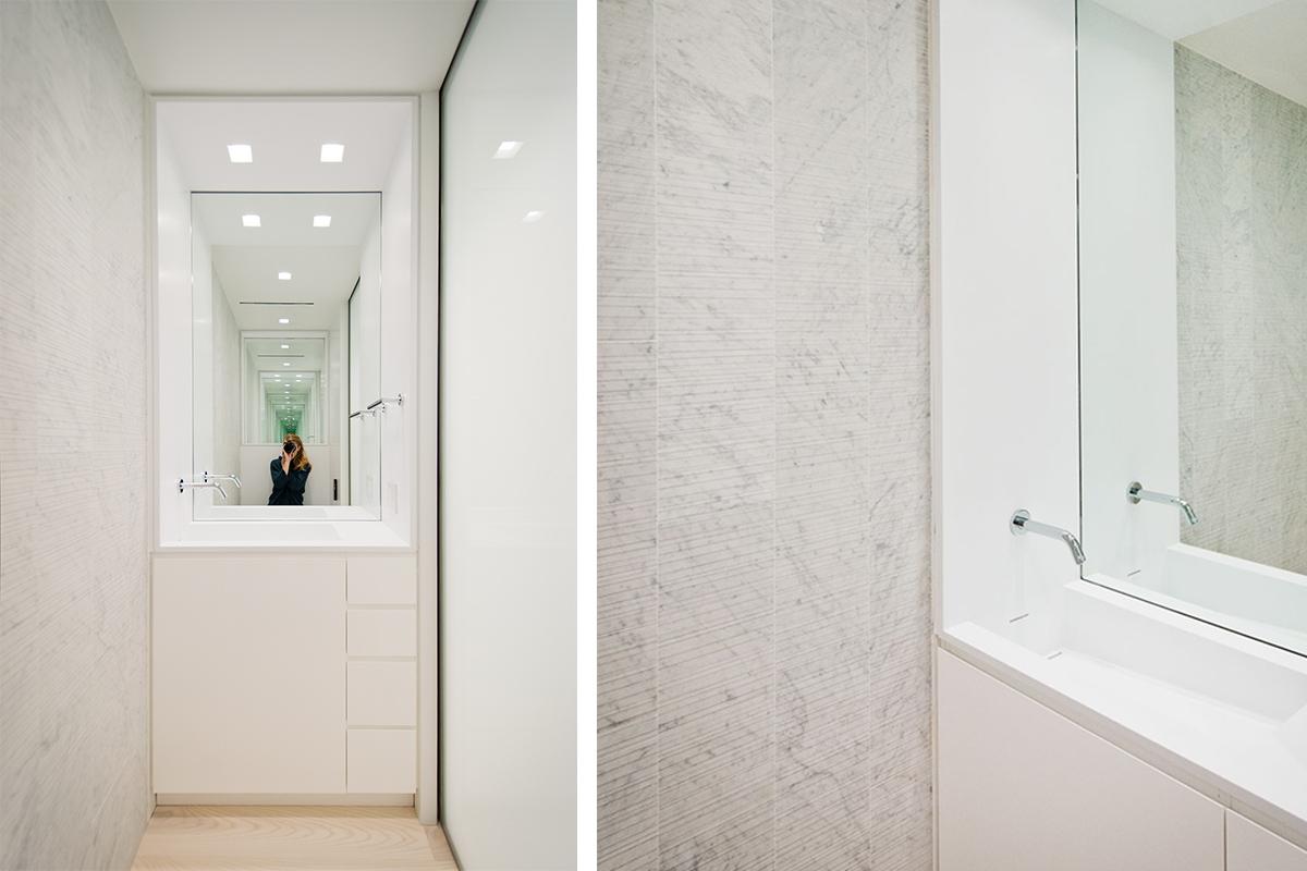 Modern New York City Lenox Hill Apartment Renovation | White Bathroom Custom Corian Sink | RES4