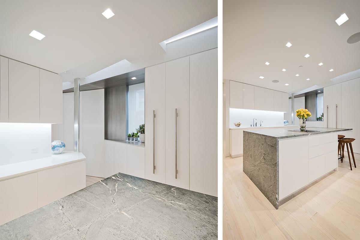 Modern New York City Lenox Hill Apartment Renovation | White Kitchen Custom Millwork Island | RES4