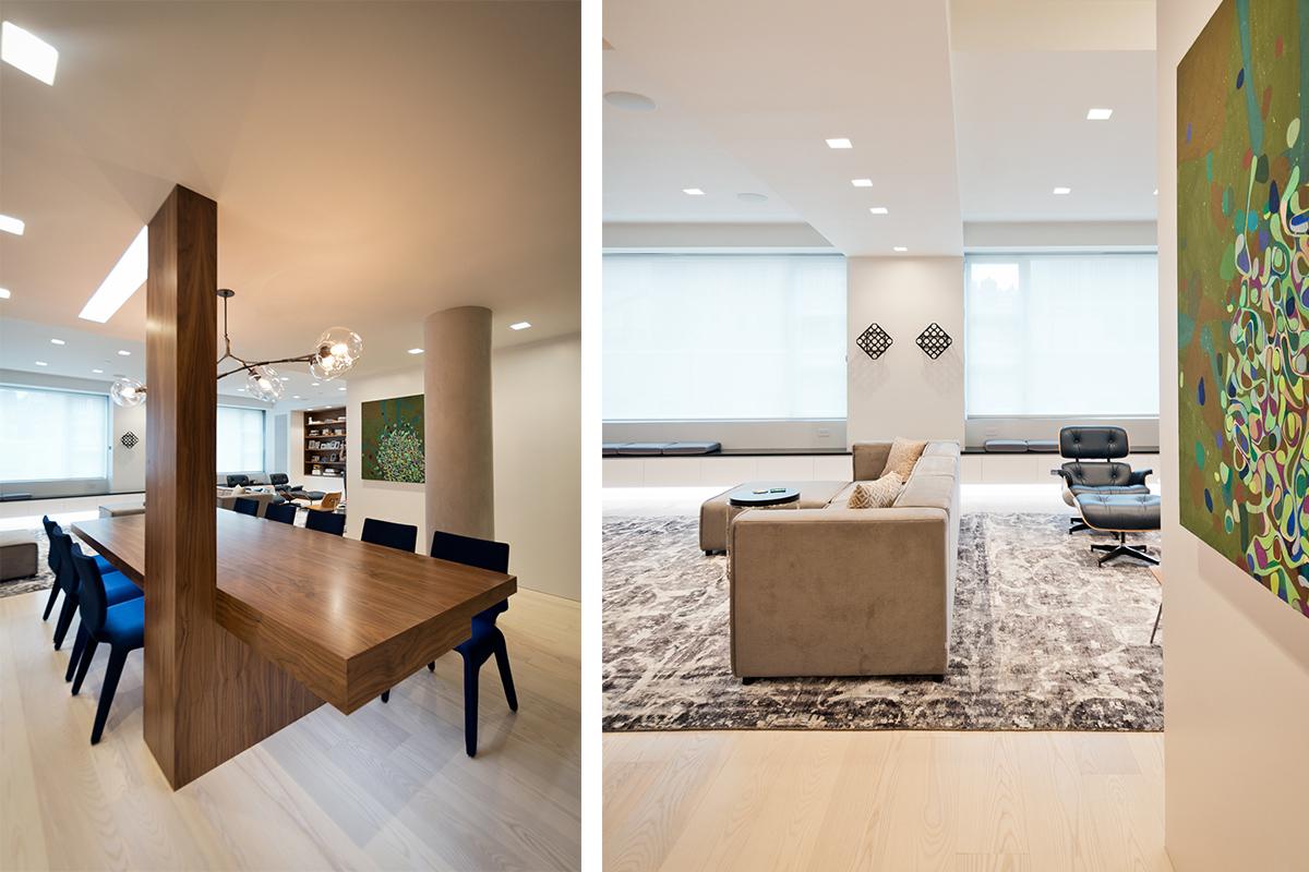 Modern New York City Lenox Hill Apartment Renovation | Walnut Custom Millwork Dining Table Living Room | RES4