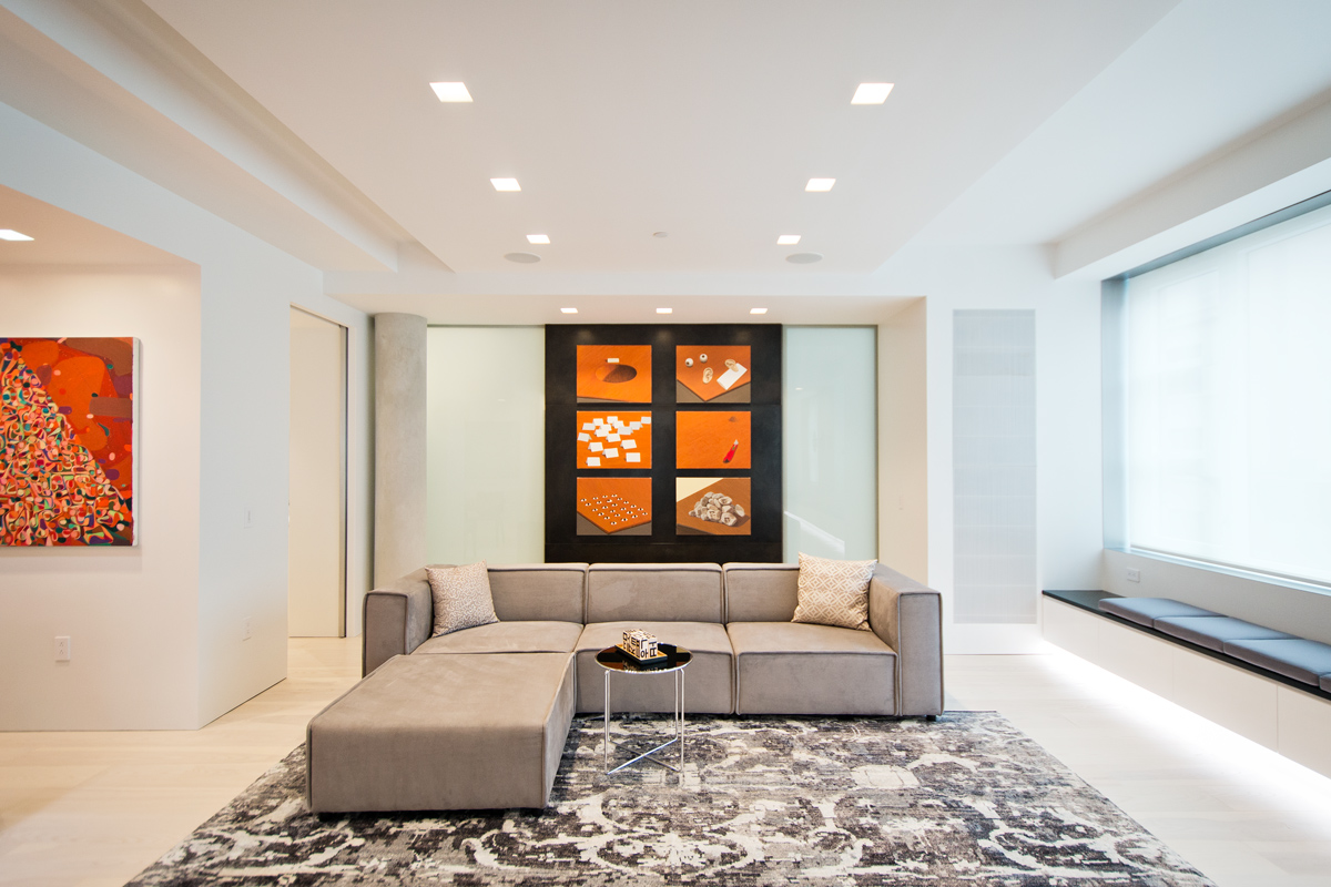 Modern New York City Lenox Hill Apartment Renovation | Light White Living Room | RES4